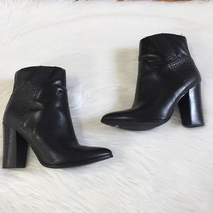 Aldo Textured Side Black Ankle Heeled Boots